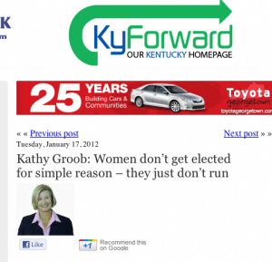 Kathy Groob: Women don't get elected for simple reason – they just don't run