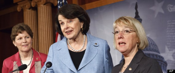 From left, Sen. Jeanne Shaheen, D-N.H., Sen. Dianne Feinstein, D-Calif., and Sen. Patty Murray, D-Wash., talk to reporters about reauthorization of the Violence Against Women Act that was passed originally in 1994, Wednesday, April 18, 2012, on Capitol Hill in Washington. (AP Photo/J. Scott Applewhite)