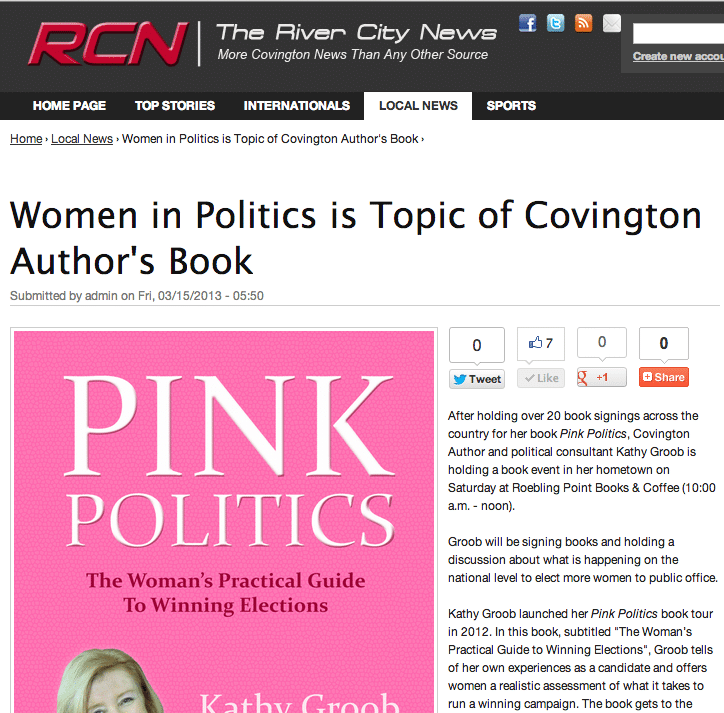 Women in Politics is Topic of Covington Author Kathy Groob's Book