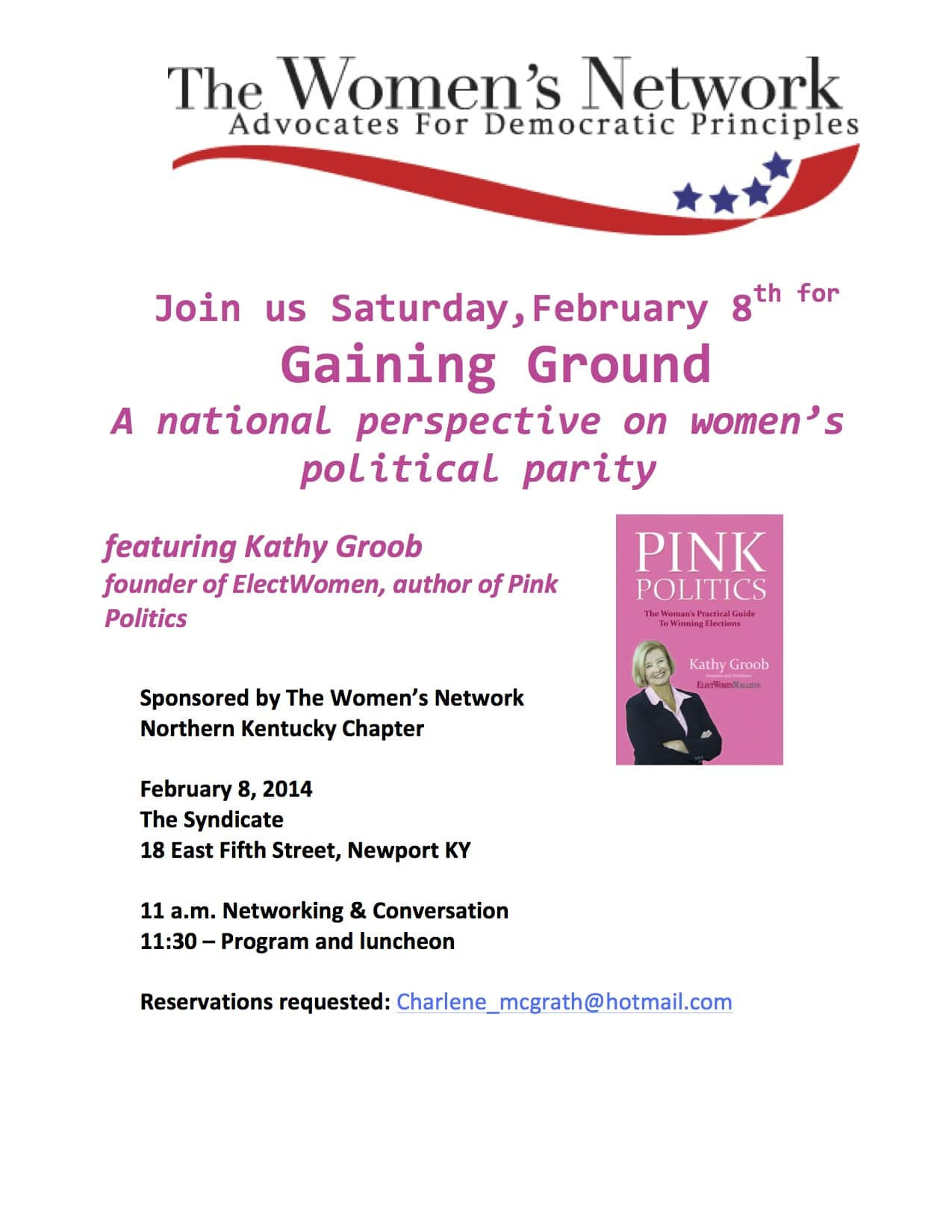 Join the Conversation: Gaining Ground, Women's Political Parity Discussion Feb. 8th