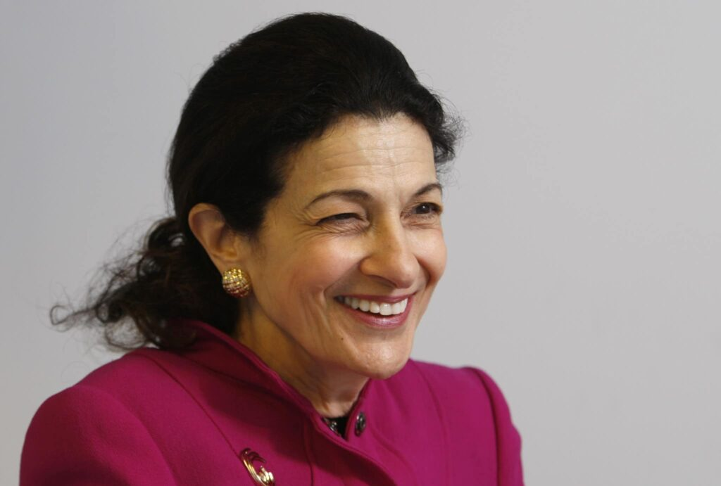 In this Jan. 8, 2010 photo, Sen. Olympia Snowe, R-Maine, laughs during an interview with the Associated Press,  in Portland, Maine. Snowe, who has served 33 years in Congress, released a statement Tuesday, Feb. 28, 2012 saying that she will not run for re-election.  (AP Photo/Robert F. Bukaty)