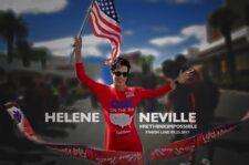 Wonder Woman Helene Neville Crosses Finish Line