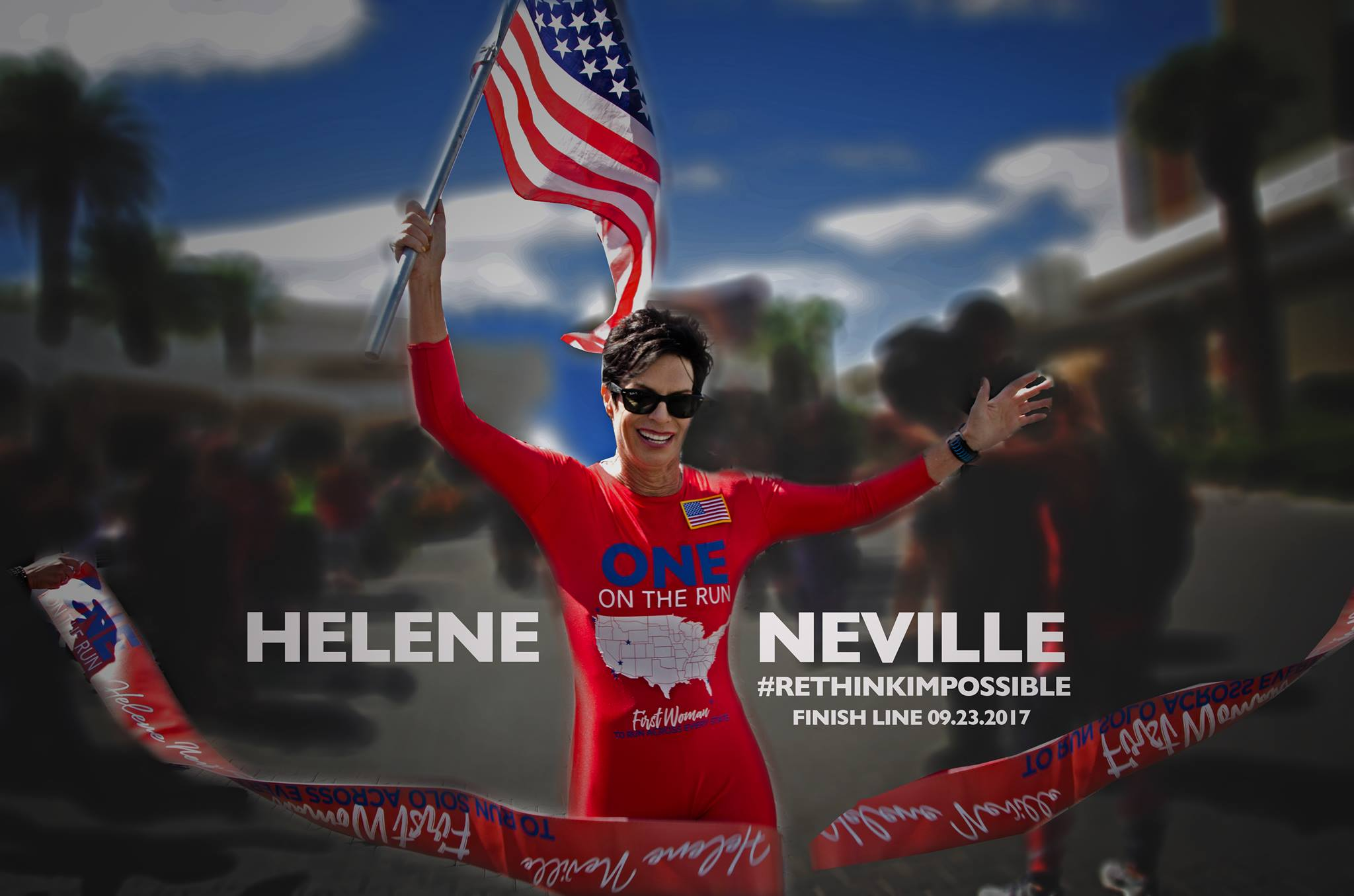 Wonder Woman Helene Neville Crosses Finish Line